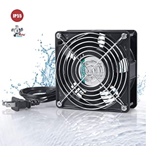 SOTOP IP55 Waterproof Metal Blades Axial Fan, 115V AC 120mm x 120mm x 38mm High Speed, for DIY Cooling Ventilation Exhaust Projects