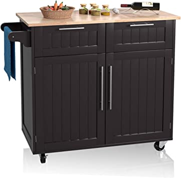 Giantex Kitchen Island Cart Rolling Storage Trolley Cart Home and  Restaurant Serving Utility Cart with Drawers,Cabinet, Towel Rack and Wood  Top