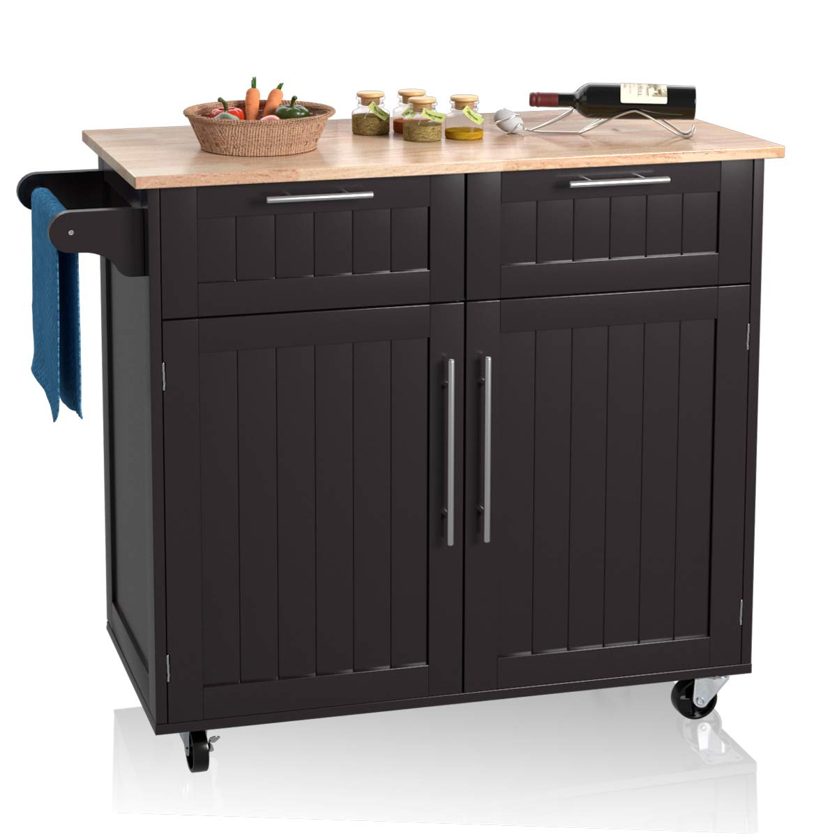 Giantex Kitchen Island Cart Rolling Storage Trolley Cart Home And Restaurant Serving Utility Cart With Drawers Cabinet Towel Rack And Wood Top