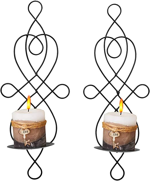 White//Black Decorative Iron Hanging Wall Candle Holder Sconce Home Decor