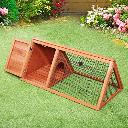 Triangle Wooden Chicken Coop Rabbit Hutch Pet Cage Small Animal Poultry Cage Run