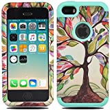 iPhone SE Case, iPhone 5C Case, MagicSky [Shock Absorption] Hybrid Dual Layer Armor Defender Protective Case Cover For iPhone SE / iPhone 5S / iPhone 5 / iPhone 5C - Love Tree