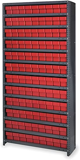 Amazon Com Closed Shelving Storage System With Euro Drawers Bin Color Red Bin Dimensions 4 5 8 H X 3 3 4 W X 17 5 8 D Qty 108 Office Products