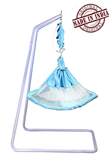 kidzy king baby hammock blue with stand and spring set  natural swing baby cradle kidzy king baby hammock blue with stand and spring set  natural      rh   amazon in
