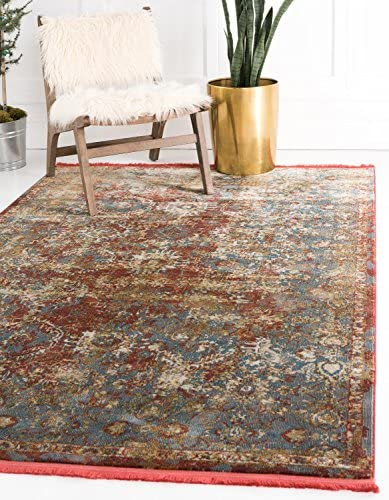 Unique Loom Baracoa Collection Bright Tones Vintage Traditional Red Area Rug 8' 4 x 10' 0