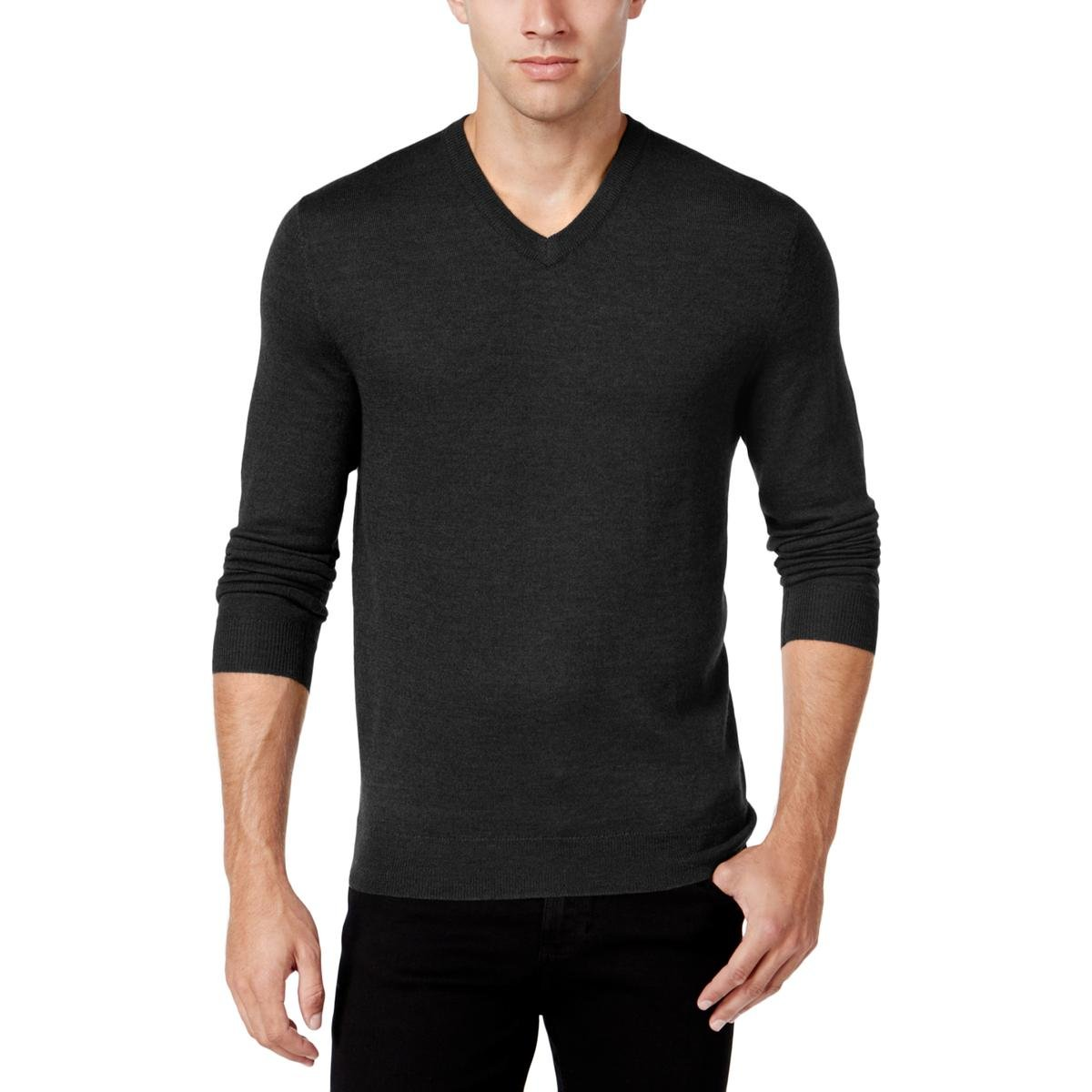 Club Room Mens Wool Blend V-Neck Pullover Sweater Gray L
