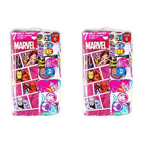 MARVEL COMIC GIRLS HIPSTER PANTIES 100% COTTON 14-PK CHARACTERS (8)
