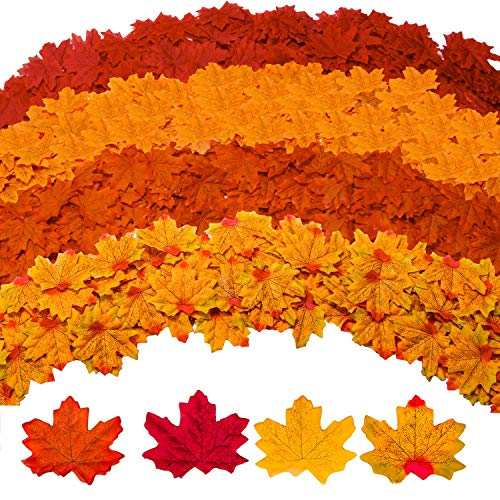 GiBot 400 Pcs Artificial Maple Leaves 4 Colors Fake Fall Leaves Silk Autumn Leaves