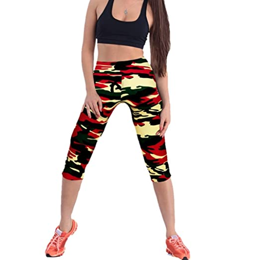 Womens Sport Pants High Waist Printed Stretch Cropped YOGA Leggings Multicolor Women's Clothing