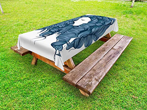 Ambesonne Hair Salon Outdoor Tablecloth, Retro Style Hand-Drawn Sketched Silhouette of a Woman with Blue Boucle Hair, Decorative Washable Picnic Table Cloth, 58 X 104 Inches, Multicolor