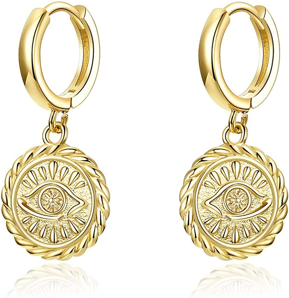 Evil Eye Dangle Drop Hoop Earrings With Small Charm for Women Teen Girls Cute Cartilage Fashion 14K Yellow Gold Plated Vintage Huggie Hoops Elegant Dangling Jewelry Gifts Birthday