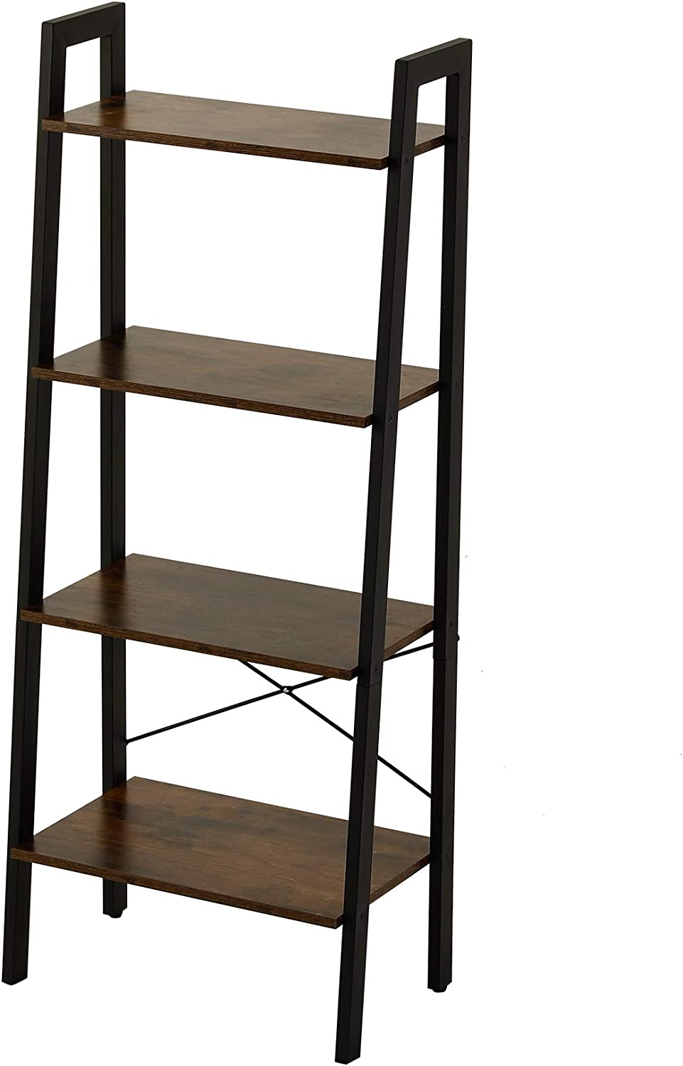 "CO-Z 54"" 4-Tier Industrial Rustic Ladder Shelf Bookshelf with Storage Shelves, Stable Metal Frame Bookcase Rack Shelf for Living Room, Kitchen and Balcony, Easy to Assemble"