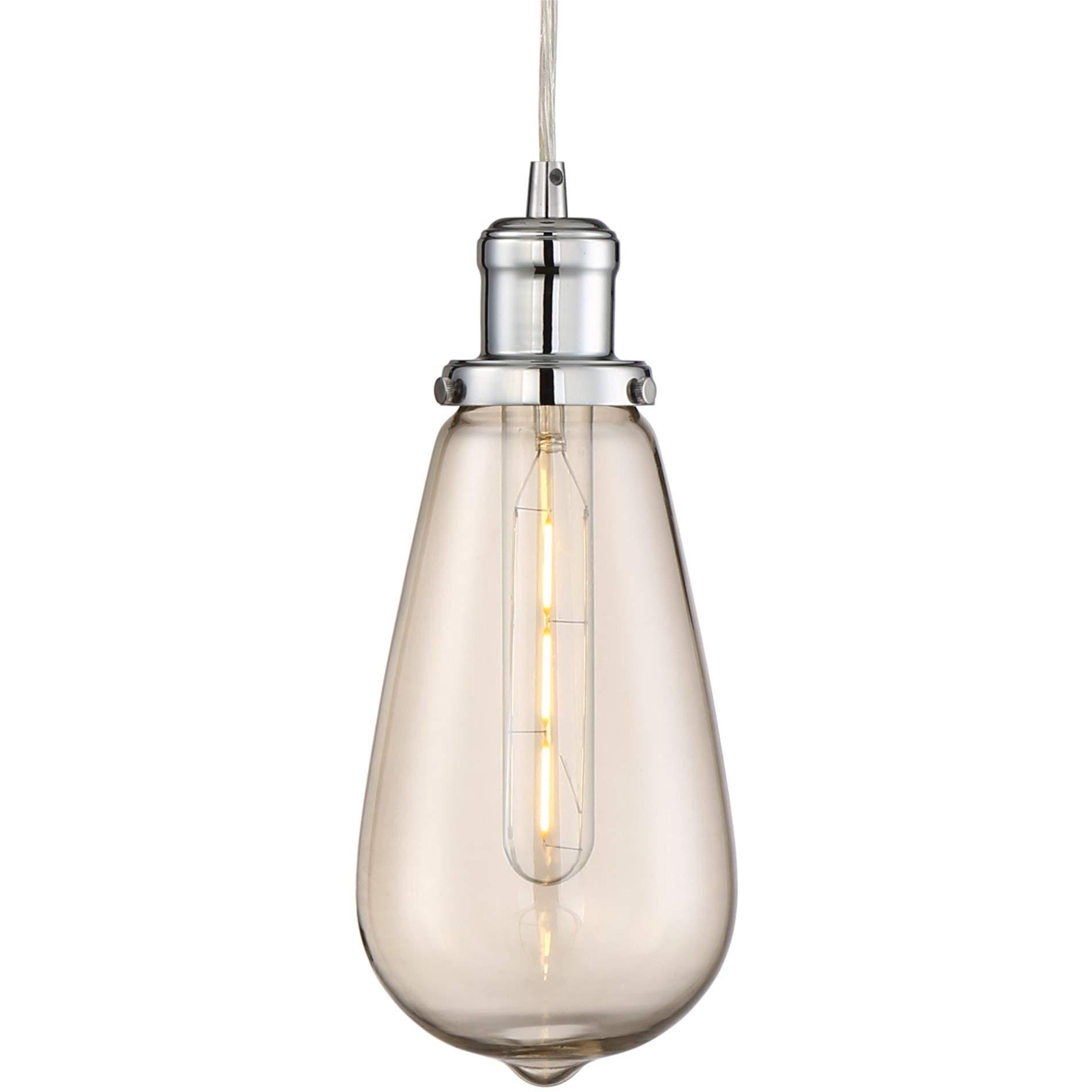 Revel Big Eddie 11.5'' Large Modern Industrial LED Pendant Light + Edison Bulb Inspired Shade, Energy Efficient/Eco-Friendly, Adjustable Wire, Chrome Finish