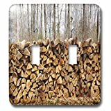 3dRose TDSwhite – Miscellaneous Photography - Rural Woodpile Rustic Trees - Light Switch Covers - double toggle switch (lsp_285308_2)