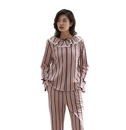 Mujeres Pijamas de Algodón Casual de Dos Piezas de Moda Rebeca de Encaje Rayas de Manga