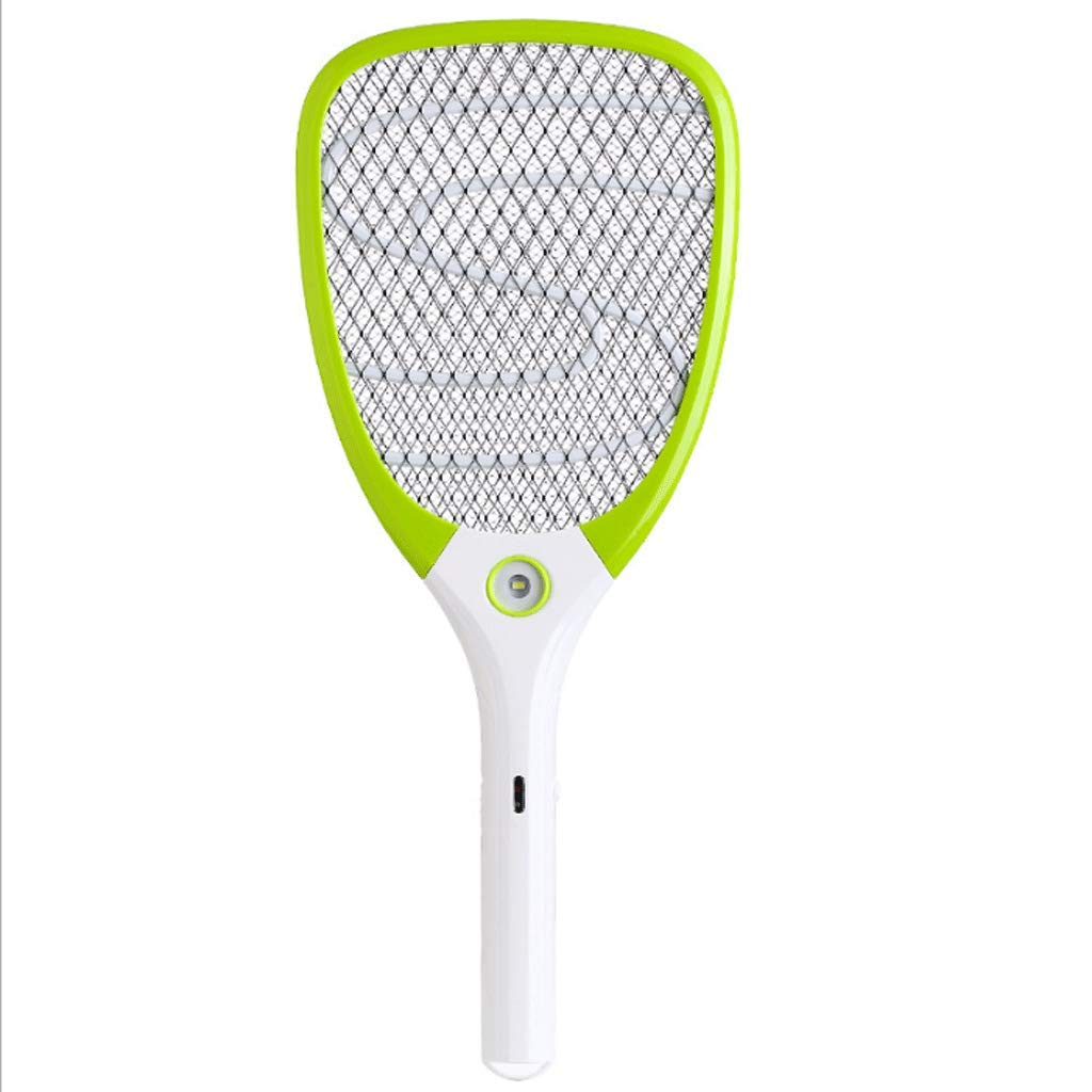 Green Multi-Function USB Rechargeable Powerful Mosquito Killer Three-Layer Large Net Fly Swatter