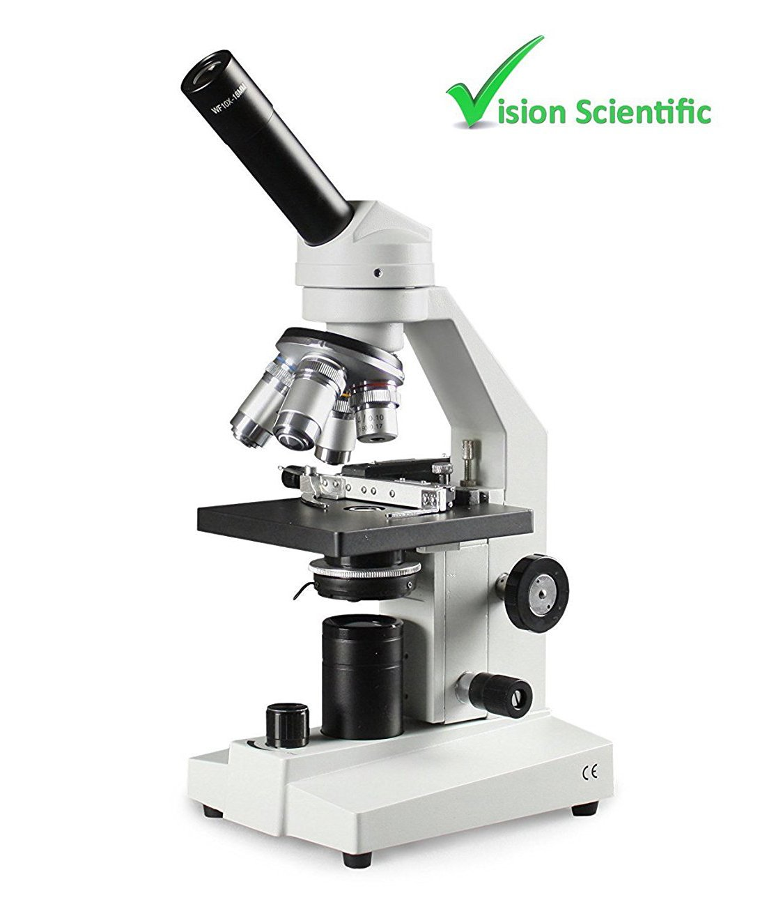 Vision Scientific VME0020X-E3-M LED Microscope, 10x WF and 25x WF Eyepiece, 40x – 2500x Magnification, LED Illumination with Intensity Control, 1.25 N.A Abbe Condenser, Mechanical Stage