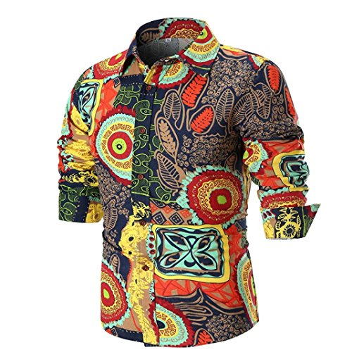 iLXHD Personality Men's Summer Casual Slim Long Sleeve Printed Shirt Top Blouse(Multicolor 1,XL) -
