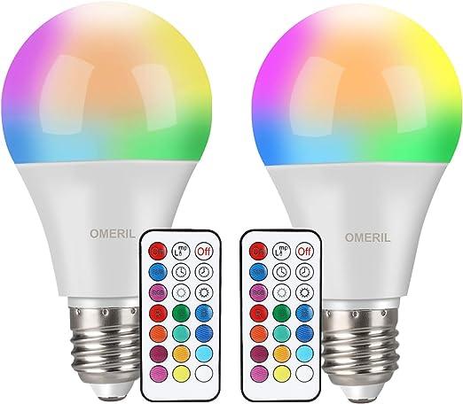 Bombilla LED Colores (2 Pack), OMERIL RGBW Bombilla LED E27 10W ...