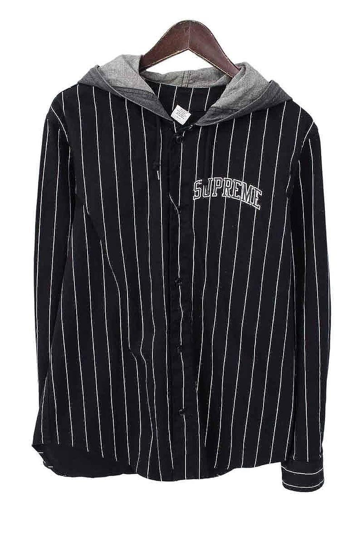 (シュプリーム) SUPREME 【14AW】【Denim Hooded Baseball Shirt】長袖シャツ(S/ブラック) 中古 B07DXM6XST