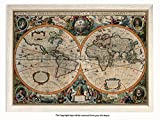 Framed - Vintage Style World Map - 17th Century Orbis Geographica - Push Pin Memo Notice Board - White Driftwood Effect - Matt Finish - Measures 96.5 x 66 cms ( 38 x 26 Inches - Approx )