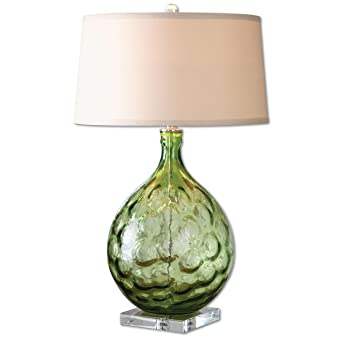 Large Green Bubble Glass Table Lamp | Transparent Clear Round