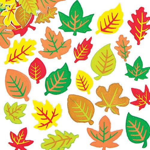 Baker Ross Leaf Foam Stickers for Children to Decorate Fall Cards and Collage (Pack of 144)