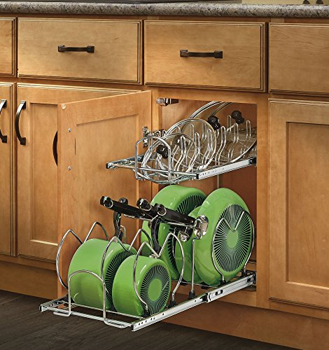 222-CR - 12 in. Pull-Out 2-Tier Base Cabinet Cookware Organizer (Adjustable Lid Organizer)