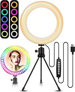 "8"" Selfie Ring Light with Tripod Stand, ELEGIANT RGB Ring Light with Stand, 10 RGB Dimmable Color & 10 Brightness Level Desktop LED Light Ring no Cellphone Holder for YouTube Live Stream Makeup Volg"