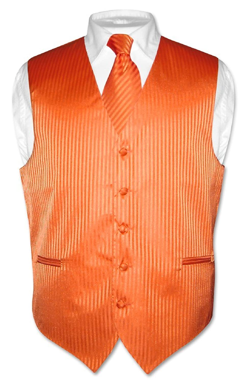 Men's Dress Vest & NeckTie ORANGE Color Vertical Striped Design Neck Tie Set