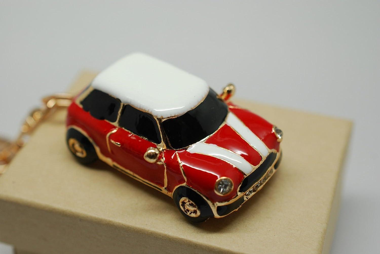 RK Gifts Porte-clés cadeau en forme de Mini avec strass et bordures dorées Bleu/rouge, Rouge(1)