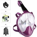 Enkeeo 180°View Snorkel Mask - Panoramic Full Face Design , Seaview Anti-fogging & anti-leak snorkeling Diving Scuba Mask for Adults and Youth - Rose S/M