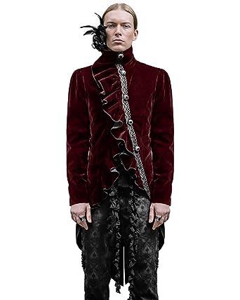 Diable Fashion Requiem pour homme queue-de-Pie Rouge en Velours Steampunk  gothique aristocrate d1ee518eb7f