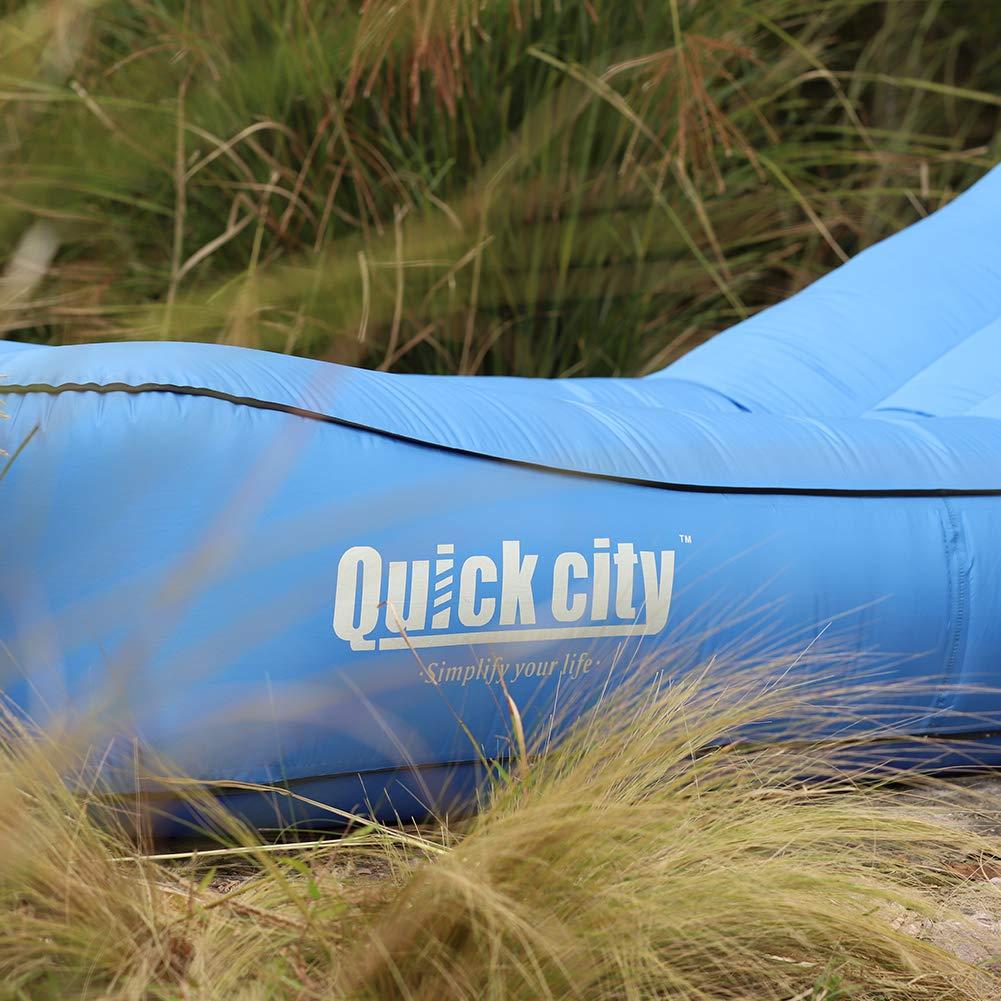 Quickcity Hamaca Hinchable de una Sola Capa Inflable port/átil y Ligero con Bolsa de Transporte f/ácil de Rellenar y antifugas para Aire Libre