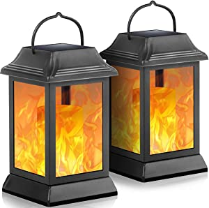 TomCare Solar Lights Metal Flickering Flame Solar Lantern Outdoor Hanging Lanterns Decorative Lighting Heavy Duty Solar Powered Waterproof Umbrella Lighting for Garden Patio Pathway Deck Yard, 2 Pack