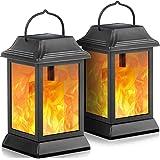 TomCare Solar Lights Metal Flickering Flame Solar Lantern Outdoor Hanging Lanterns Decorative Lighting Heavy Duty Solar…