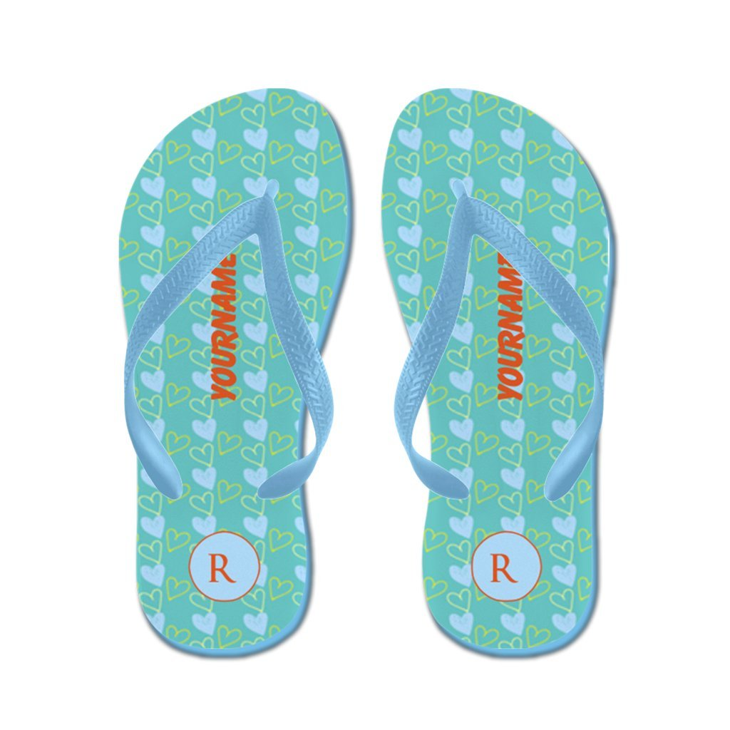 Lplpol Personalizable Customized Candy Hearts Pattern Monogram Flip Flops for Kids and Adult Unisex Beach Sandals Pool Shoes Party Slippers