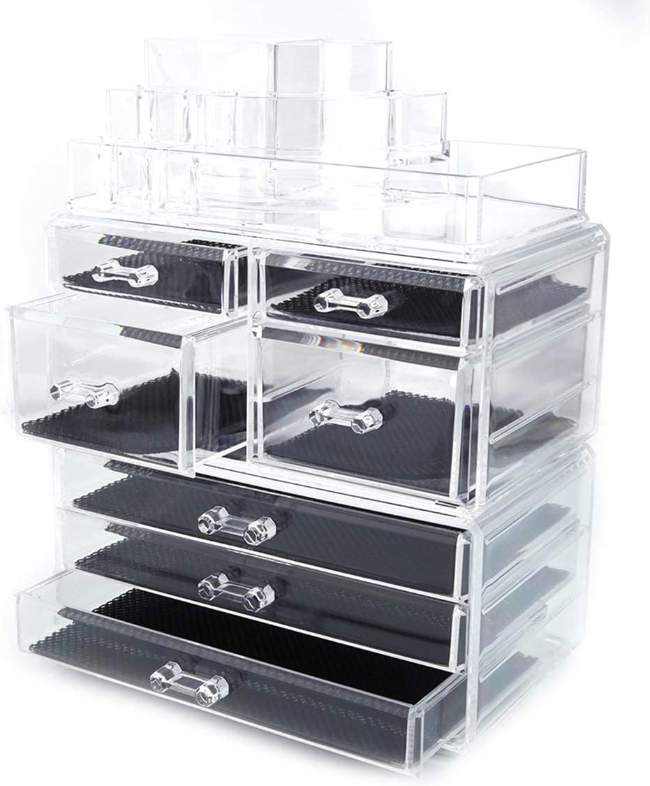 5 Drawer Acrylic Jewelry and Clear Cosmetic Makeup Organizer Home Use Space-saving Rectangular Compartments & 3-Layer Drawers Plastic Makeup Case Makeup Stand