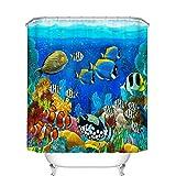 Tropical Fish Fabric Shower Curtain Fangkun Bathroom Shower Curtain Blue Ocean Tropical Fish Coral Undersea World Design - Polyester Fabric Waterproof Bath Curtains Decor Set - 12pcs Hooks - 72 x 72 inches
