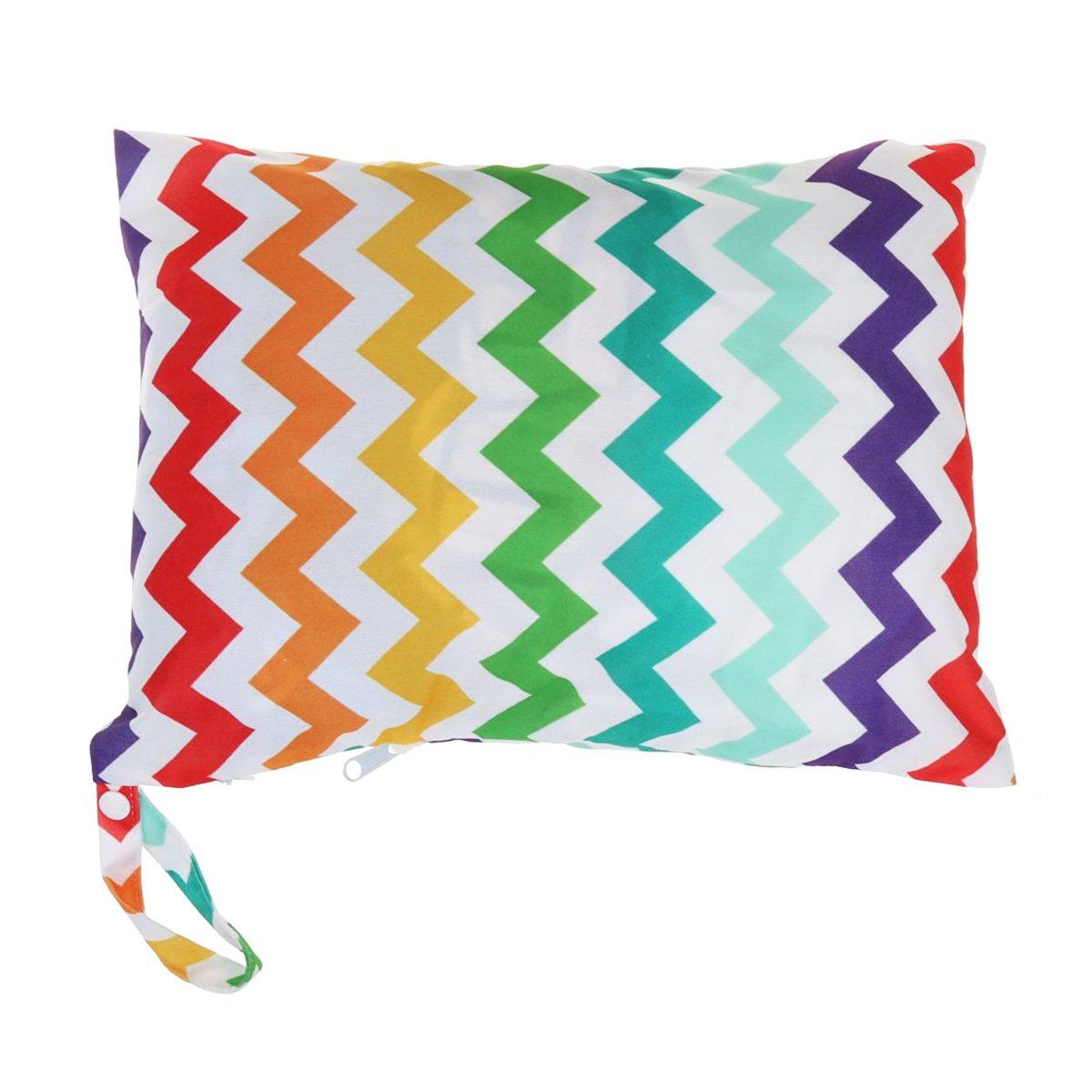 OULII Sac à couches pour les mamans élégantes, couches pour bébé sac imperméable à l'eau Resuable Nappy bébé sec humide couche-culotte pochette avec fermeture-éclair double Rainbow
