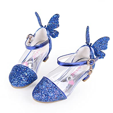 f2ab358c4 miaoshop Girls Princess Sandals Kids Wedding Shoes High Heels Dress Shoes  Party Shoes (9.5M