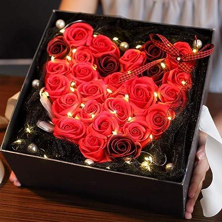 DíA De San ValentíN Flor De JabóN Color De Rosa Caja De Regalo CumpleañOs RomáNtico Creativo De Gama Alta Enviar Chica Rosa Flor Artificial,P: Amazon.es: Hogar