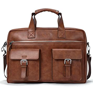 f82474c64302 Briefcase for men Leather 15.6 Inch Laptop Slim Business Shoulder Vintage  Message Bags
