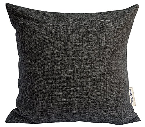 Square Charcoal - TangDepot Heavy Lined Linen Cushion Cover, Throw Pillow Cover, Square Decorative Pillow Covers, Indoor/Outdoor Pillows Shells - (14