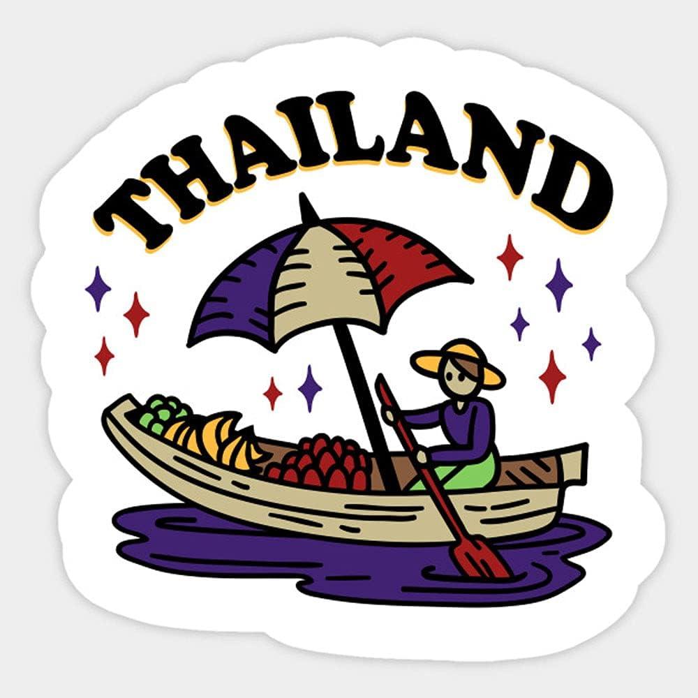 Thailand Floating Market Thai Food Boat Stickers, Vinyl Sticker,Funny Sticker, Gift Sticker