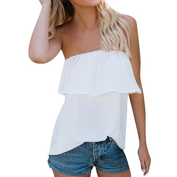 2018 Vestidos de Mujer, Camisetas de Mujer,Blusa de Gasa sin Tirantes con Hombros