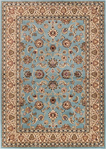 Well Woven Noble Sarouk Light Blue Persian Floral Oriental F
