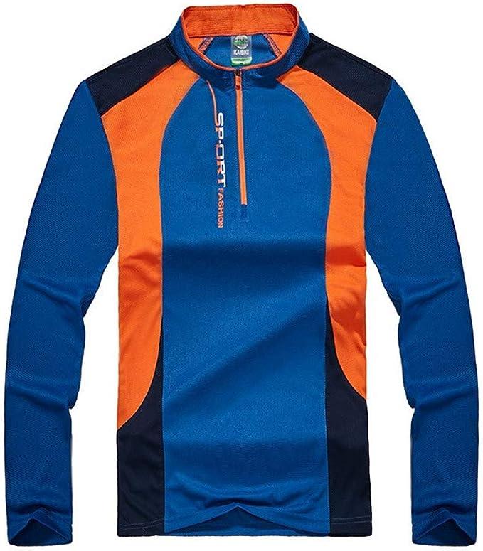 Ropa de secado rapido Deportes de otoño al aire libre, senderismo Camiseta de manga larga de secado rápido para hombres y mujeres Camisa transpirable para hombre (Color : Azul , tamaño :