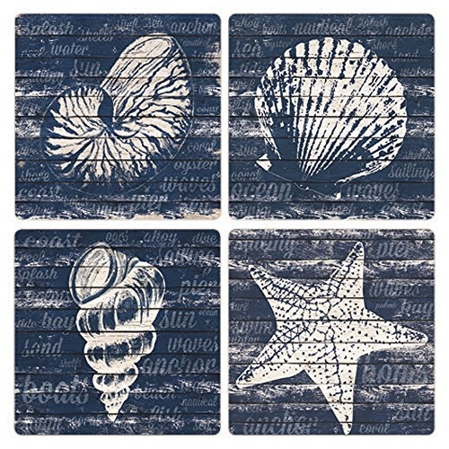 CoasterStone Coastal Wonder Absorbent Coasters (Set of 4), 4-1/4