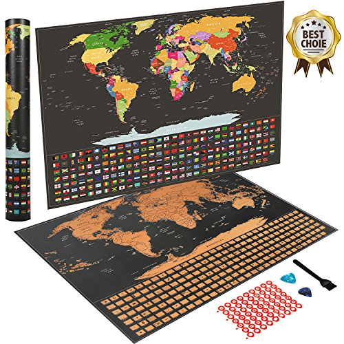 Rinuo Scratch Off World Map Poster, Travel Tracker Map with Country Flags, Includes Scratchers, Brush and Memory Stickers, for Travelers - Size 22.5 x 16.5